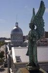 Displayed on the top of the Notre-Dame-de-Bon-Secours Chapel in Old Montreal, Quebec sits a beautiful statue of an angel.