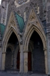 The entrance to the Christ Church Cathedral, an Anglican Church in Centre Ville, Montreal in Quebec, shows the beauty of its stunning architecture.