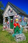 A brightly decorated shed is home Timmon's Folk Art Store in Pleasant Bay along the Cabot Trail in Cape Breton, Nova Scotia.