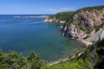 The scenic coastline of Aspy Bay along the Alternate Scenic Route of the Cabot Trail in Cape Breton, Nova Scotia.