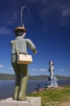 Photo: Atlantic Salmon Statue With Fisherman Restigouche River Campbellton