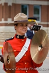 One band member playing the cymbals participates in the Sargeant Major's Parade at the RCMP Academy in the City of Regina in Saskatchewan, Canada.