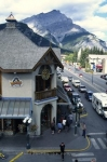 The mainstreet in the town of Banff in Banff National Park in Alberta, Canada, North America.