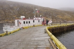The Battle Harbour Ferry known as the MV Iceberg Hunter sits at the wharf at Battle Harbour in Southern Labrador in Labrador, Canada.