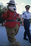 A funny picture that was taken of a person dressed in a bear costume wandering with a member of the RCMP at the RCMP Museum in Regina, Saskatchewan.