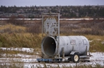 A bear trap is set up at the old dump site in Churchill, Manitoba in case any of the Polar Bears decide to venture this way.