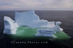 An aerial view of an iceberg melting in the Strait of Belle Isle in Southern Labrador in Newfoundland Labrador, Canada.