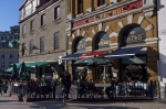 Tourists love to have an afternoon coffee at this Bistro along the streets of Old Quebec in Quebec City, Canada.