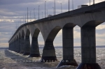 The Confederation Bridge in Prince Edward Island, Canada is a unique building structure that crosses the Northumberland Strait into New Brunswick.