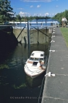 The Burritt's Lock is at the eastern end of the Rideau Canal channel in Merrickville, Ontario in Canada.