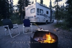Campers enjoy the outdoors at a campground in the Yukon Territory, Canada.