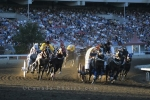 The Chuck Wagon Race is an exciting event to watch at the Calgary Stampede in Alberta, Canada.