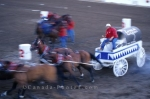 An annual event at the Calgary Stampede in Alberta, Canada is the chuck wagon race.