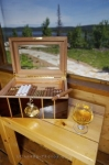 One of the best ways to keep a cigar fresh and worthy of its taste is to put it in boxes especially designed for them like this one on display at the Rifflin'Hitch Lodge in Labrador.