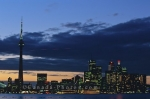 As a new day begins in Toronto, Ontario the lights still stretch across the city skyline.