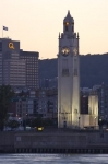 Photo: Clock Tower Sunset Illumination Old Montreal Port Quebec
