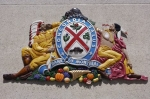 The brilliant colors of the Coat of Arms represents the Bank of Montreal in St. Johns, Newfoundland in Canada.