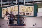 A decorative sign outside The Daily Grind Coffee Shop in the downtown area of Halifax in Nova Scotia, Canada.