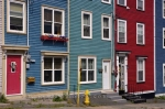 In the downtown area of St. Johns, Newfoundland, visitors can stroll along Jelly Bean Row to admire the unique and colorful homes.