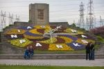During the spring, a colorful arrangement of flowers bloom on the Niagara Parks Floral Clock in the town of Queenston in Ontario, Canada.