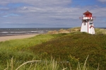 The Covehead Lighthouse sits on the point at Covehead Bay along the Blue Heron Coastal Drive in Prince Edward Island, Canada.