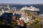 A cruise ship docks at the Vieux Port along the Dufferin Terrace in Old Quebec in Quebec City, Canada.