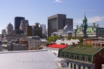 From the Notre-Dame-de-Bon-Secours Chapel in Old Montreal, Quebec in Canada, one can see the downtown buildings, some new and some showing off their historic architecture.