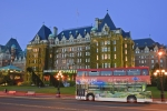 One of the main landmarks in Victoria on Vancouver Island, British Columbia is the famous Empress Hotel at the harbor.