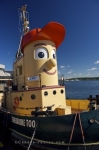 The famous tugboat, Theodore, can be found along the waterfront in downtown Halifax, Nova Scotia where it has a permanent home in the harbour.