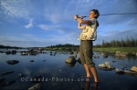 Fly fishing in Trout River in Main Brook, Newfoundland in Canada is a popular outdoor activity enjoyed by vacationers.