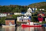 Houses sit along the green hillsides of the Fleur de Lys in Newfoundland Labrador and fishing boats moor in the harbour of this small community.