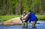 Staff at the Tuckamore Lodge in Main Brook, Newfoundland will give tourists fly fishing lessons in the Salmon River where you can learn all the techniques required.