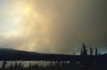 Smoke from a forest fire is a sight that is fairly common in the Yukon Territory in Canada.