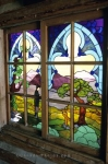Colourful glass decorating the windows at Fort Macleod, Alberta, Canada.