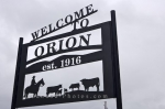 A sign welcomes people to the ghost town of Orion in Alberta, Canada where a handful of residents still reside.