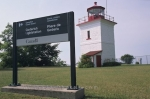 Photo: Goderich Lightstation with sign Ontario Canada North America