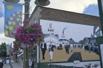 Gravenhurst, Ontario is a pretty little town with a historic mural on the side of a building and quaint streets.