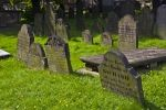 An assortment of headstones fill the graveyard in the downtown area of Halifax in Nova Scotia, Canada.