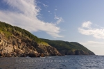The coastline of the Gulf of St Lawrence around Cape Breton, Nova Scotia as seen from aboard a whale watching boat.