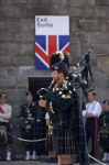 A bagpiper playing solo for the troops at the Halifax Citadel National Historic Site in Nova Scotia, Canada.
