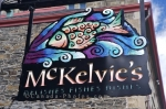 A sign for McKelvies Restaurant in the downtown core of Halifax, Nova Scotia where seafood is cooked to perfection.