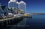 A sunny day and blue skies at the Halifax Waterfront, Halifax, Nova Scotia, Canada, North America.