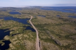 The aerial view of Highway 510 as it travels through Southern Labrador in Canada between Cartwright and Mary's Harbour.
