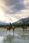 Holidays in beautiful BC - horseriding tourists in Blaeberry Valley, Golden, BC, Goldenwood Lodge.