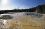 The bubbling hot springs in Yellowstone National Park in Wyoming in Canada.