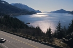 The Sea to Sky Highway fringes Howe Sound in British Columbia, Canada.