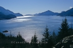 A beautiful sunny day nearing sunset and the scenery that surrounds Howe Sound in British Columbia, Canada.