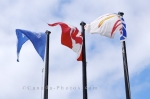 An assortment of flags blow in the breeze outside the information centre in the town of L'Anse aux Meadows in Newfoundland, Canada.
