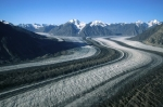 An aerial view of the Kaskawulsh Glacier in Kluane National Park in the Yukon from a helicopter tour.