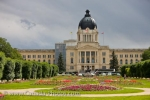 Photo: Legislative Building Blossoming Flower Gardens Regina City Saskatchewan